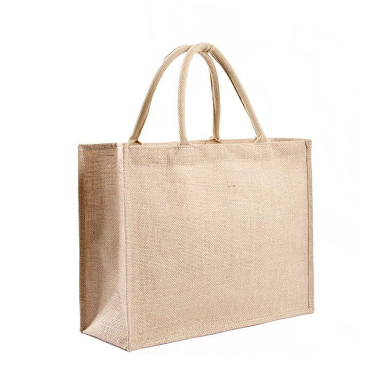 المطبخ قابلة لإعادة الاستخدام أكياس البقالة الطبيعية الخيش حمل الحقائب الجوت x7xc
