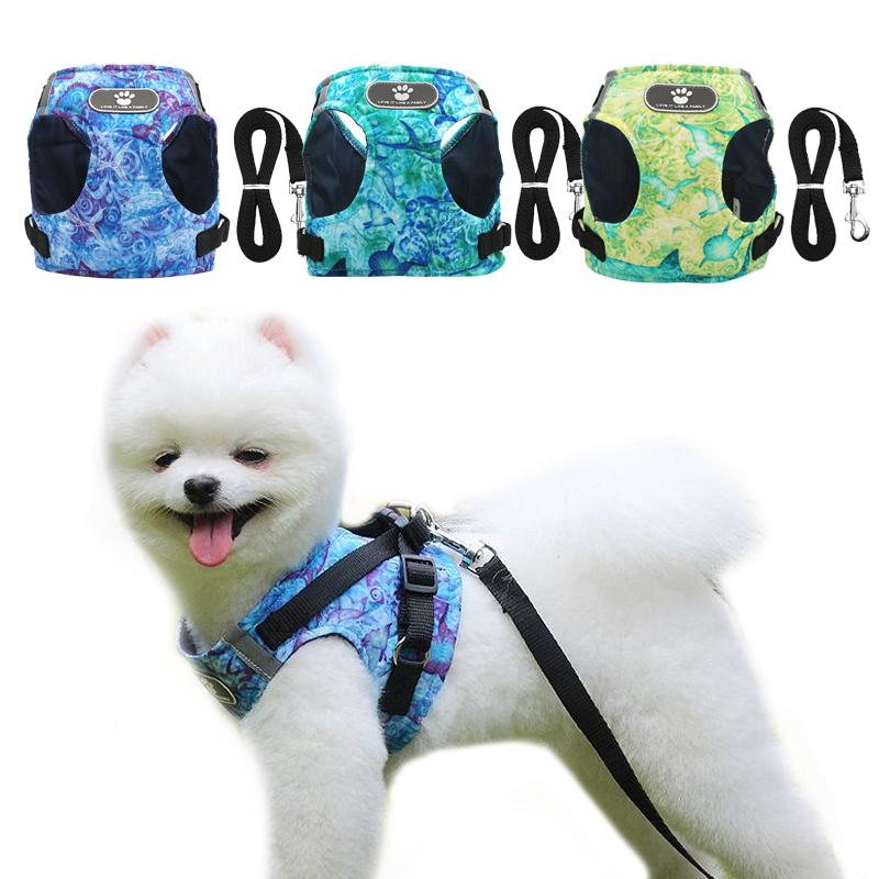 Ocean Printing Dog Harness and Leash Set Breathable Puppy Vest For Small Medium Dogs Reflective Walking Lead Dog Leash Collar