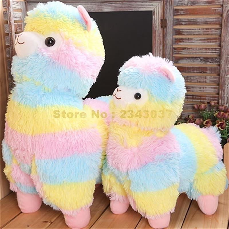 Bunter Stripe Rainbow Alpacasso Alpaka Plüsch Puppe ausgestopfte Kissen Kissen Spielzeug 201214