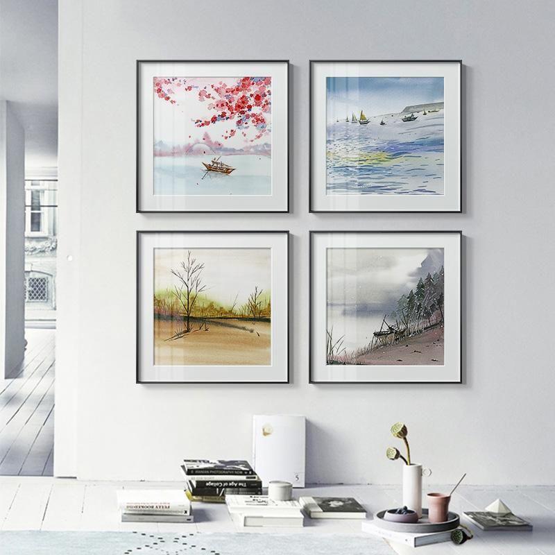 Современные сезоны Пейзаж Холст Живопись Постеры Dining Room Уникальный декор Новая мода Wall Art Pictures Для Гостиная Спальня