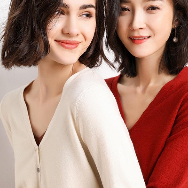 sottile V-collo della molla grande cappotto allentato nero superiore 2020 nuove donne ha lavorato a maglia cappotto cardigan corto artificiale lungo VooJP manicotto
