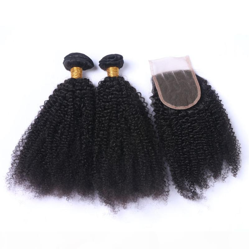 Afro Kinky Curly Malaysian Virgin Human Hair Weave Bundles with Closure Kinky Curly 4x4 Front Lace Closure with Virgin Hair Wefts