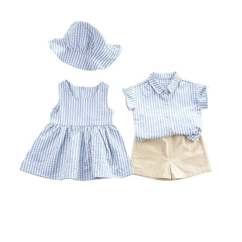 children clothes striped girl set twins baby girls summer brother sister LJ200831