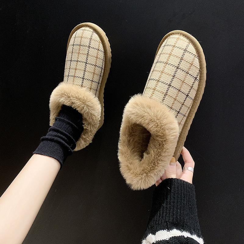 Lady Boots Women's Rubber Shoes Rain Winter Footwear Australia Plush Round Toe Boots-women Flat Heel Ladies 2021 Ankle