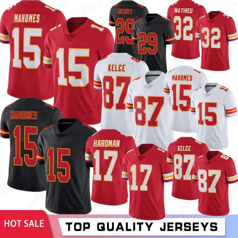15 Patrick Mahomes Men Jerseys Jerseys 87 Travis Kelce 32 Tyrann Mathieu 29 Berry 17 Hardman 29 Berry 2021 Nuovo stock S-XXXL