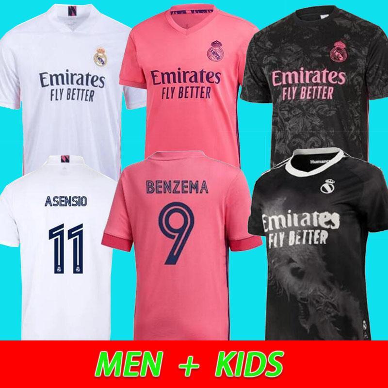Реал трикотажных изделий 20 21 мужчин + дети комплекта футбол футбол рубашка ОПАСНОСТЬ SERGIO RAMOS Бензем Asensio Camiseta 2020 2021 четвёртая четвёртая HUMANRACE
