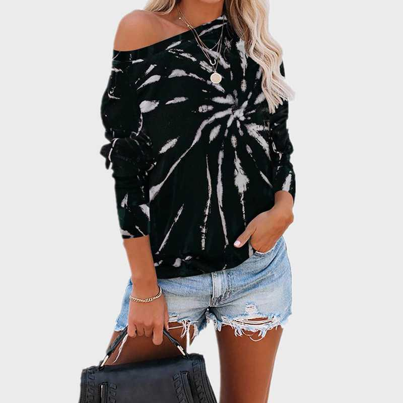 Couleur Femmes Top Tee Casual Femme T-shirts manches longues Aesthetic Graphic Tee O-Neck femmes Vêtements Tops Mode Automne 2020