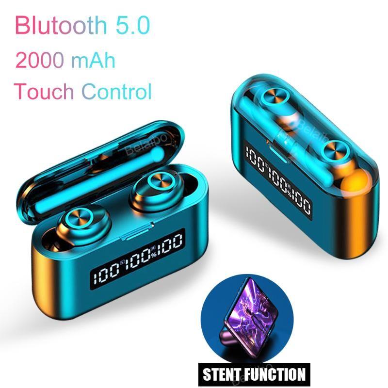 Новый TWS беспроводной Bluetooth наушники наушники 5,0 сенсорный бинауральные вызова Водонепроницаемая гарнитура наушники с 2000mAh зарядки коробки