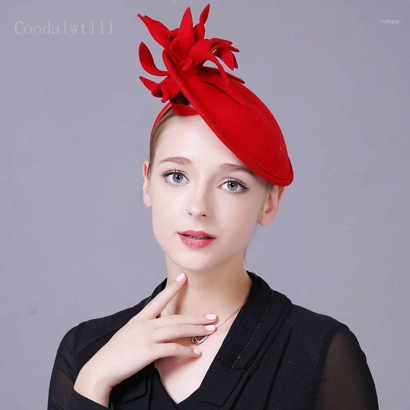Stingy brim gorras señora elegante lana rojo fedora para mujeres fascinatorios sombrero de boda pillbox negro vestido formal fedoras1