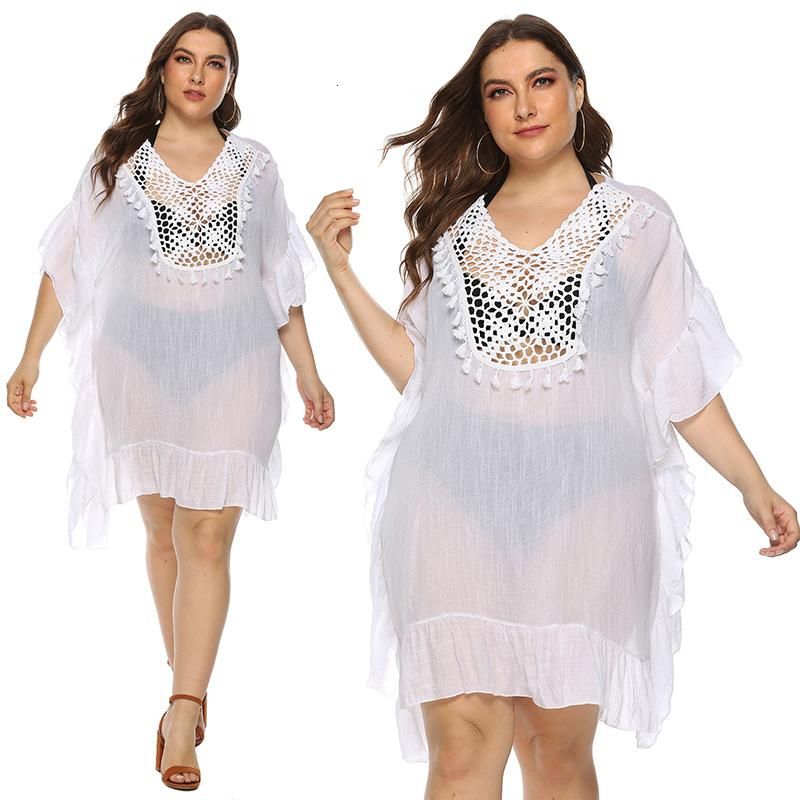 Le donne Plus Size Beach di occultamento Bianco Hollow Ruffle Beachwear Plus Size Swimsuit Cover-up signore 2020 nuovo vestito da estate Beach