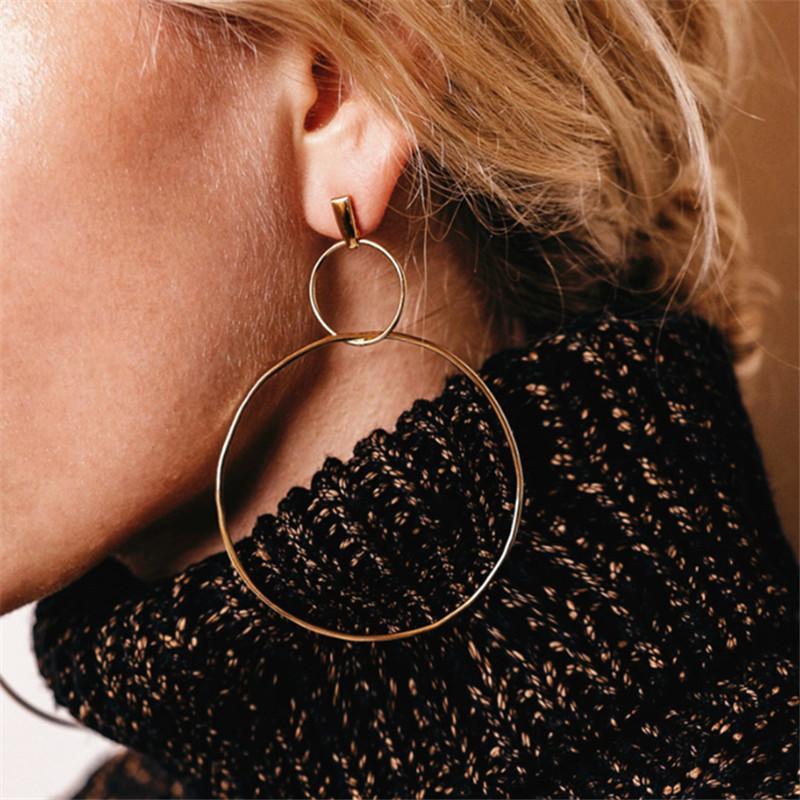 Hoop Huggie Frauen Lucky Nummer 8 Kreis Ohrringe Mode Hohl Gold Silber Europa und Amerika Schmuck