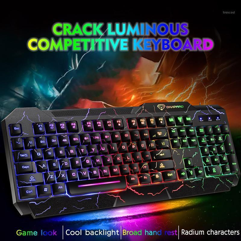 Verdrahtete Tastaturfarbe Crack Athing Backlit 104-Key Gaming Keyboard Gaming Mechanical für PC Computer Gamer # BL31