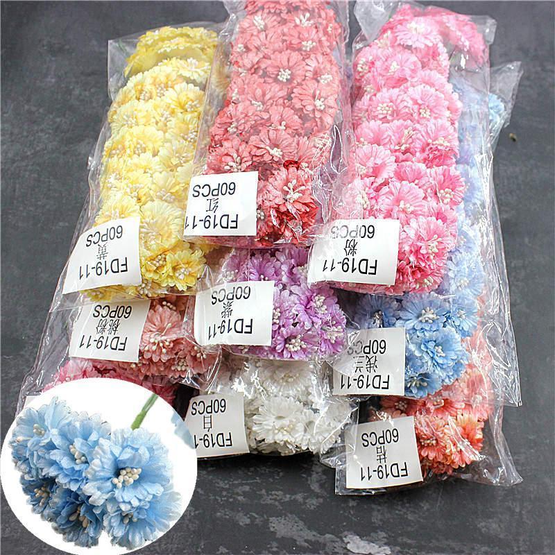 ipek karanfil mühür düğün ev dekorasyon çiçek küçük resim diy nakış taç hediye kutusu yapay çiçek 60 adet