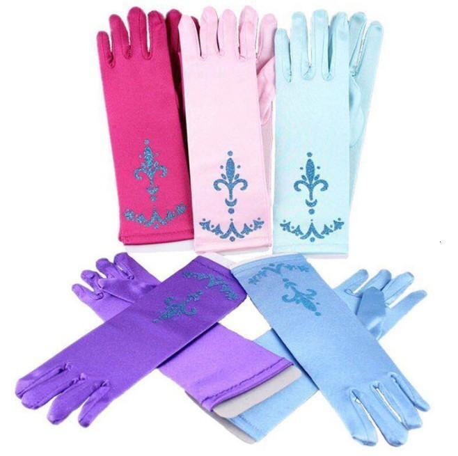 Guantes de dedo largo para niñas Snow Queen 5 colores niños Dress Up Fiesta Suministros para niños Princesa Cosplay Mittens Baby Girl Costume Guante