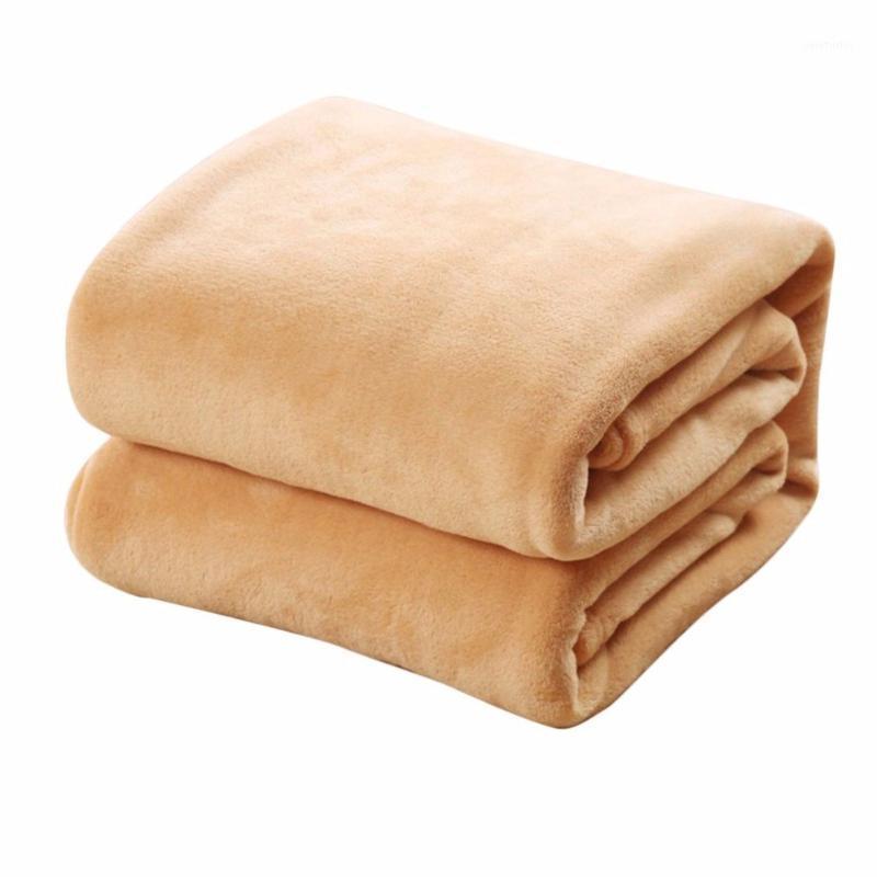 Одеяла удобные супер мягкие Держите теплые фланелевые одеяло большого размера сплошной цвет домашний диван постельное белье офисная машина Textile1