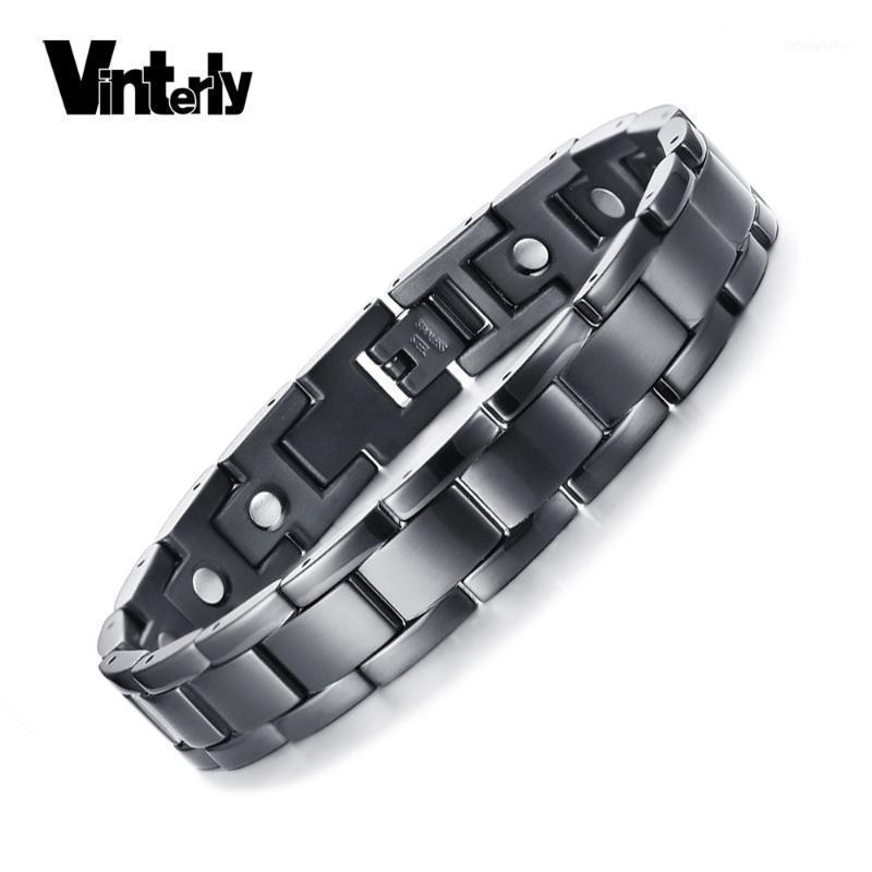 Link, Kette vinterly Black Magnetic Armband Männer Edelstahl Vorteile Handgelenk Health Energy Hologramm Armbänder Für Frauen 20211