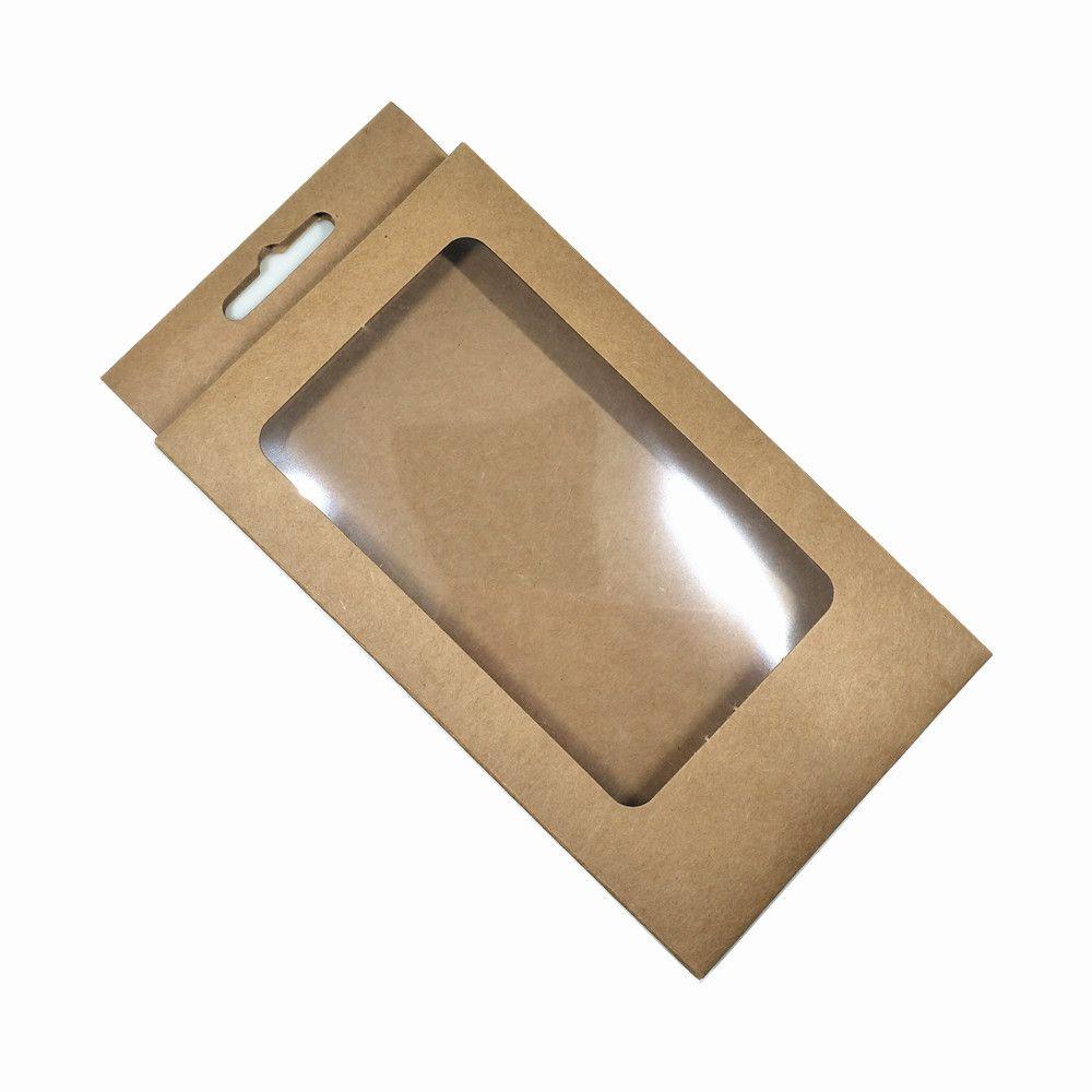 10x17x1.5 cm Temizle Plastik Pencere Kraft Kağıt Kutusu Hediye Craft Paket Durumda Katlanabilir Karton Kutuları Telefon Kabuk Depolama Karton Asmak Delik SGH