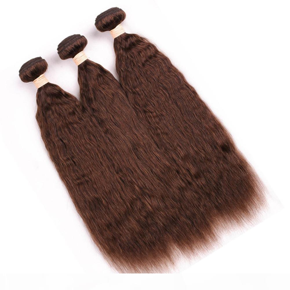 # 4 chocolate marrón rizado recto peruano tejido humano tejido paquetes 3 unids mediano marrón humano cabello humano extensiones gruesa yaki pelo tejidos