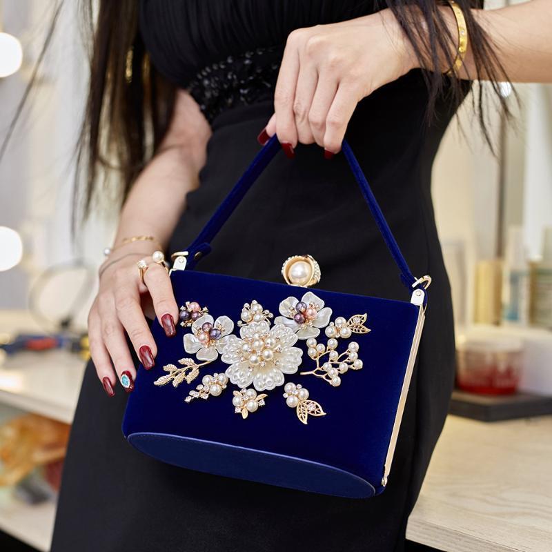Elegante sacchetto di frizioni di velluto per le donne moda perla perline perline borsa da sera lungo catena messenger trucco perline perline perline