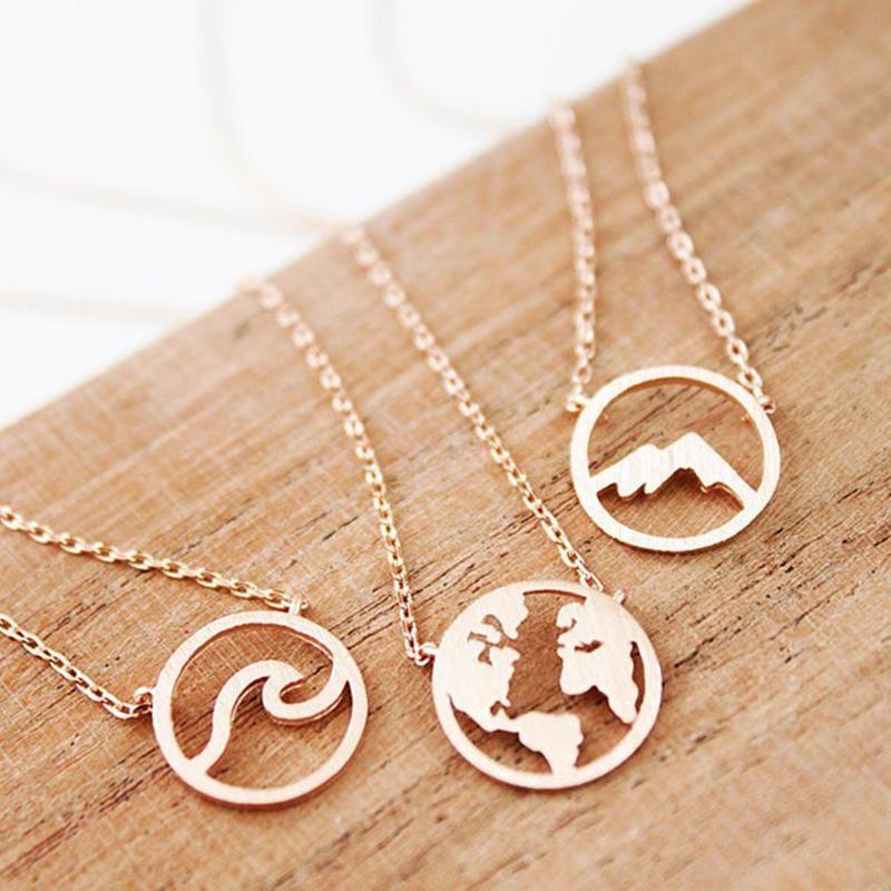 Розовое золото Цвет волна глобус Круглый круг Шарм ожерелье из нержавеющей стали гора подвеска ювелирные подарки для друзей