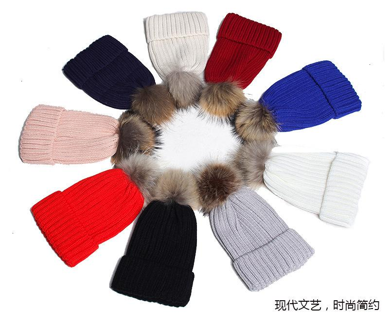 Outlet 2021 New Korean autumn and fashion raccoon dog hair ball thickened hat winter wool versatile knitting warm female AXB6