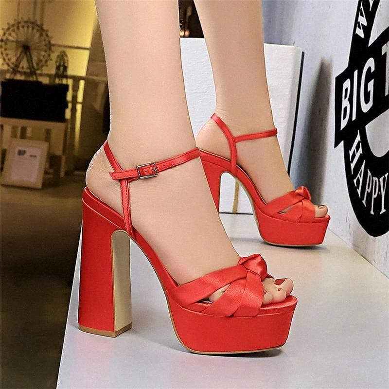 Новые Женщины Летние Платформа Сандалии Горнонужденные Пряжки Женщина Конфеты Цвета Толстые Высокие каблуки Дамы Открытые Новые Обувь Женские Сандалии # QE3R