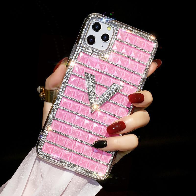 Подходит для iPhone 11 12 Pro Max XS XR x 7 8 плюс роскошный дизайнер женский чехол для мобильного телефона блестящая буква мода алмазный мобильный телефон