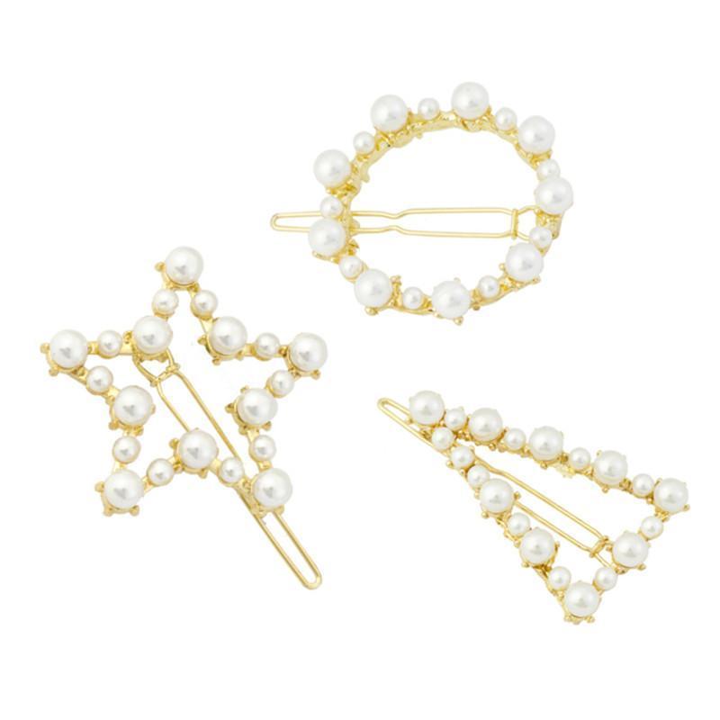Geom-Color Geométrico Pearl Peinly Jewelry Mujer Marca Horquillas con Pearls Play Clip Accesorios de boda Top Regalos