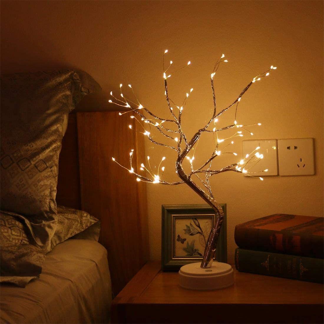 108 LEDS Arbre artificiel Lumière artificielle, 20 pouces Bonsaï Tree Desk table LED Lampe lumineuses avec 16 branches, décoration de la chambre à coucher