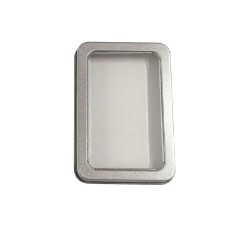 10.7 * 7 * 3 cm Teneke Kutuları Şeffaf Açık Pencere Kapak Kılıfları Demir Dikdörtgen Depolama Tabakaları Bluetooth Kulaklık DIY Ambalaj 1 35LP G2