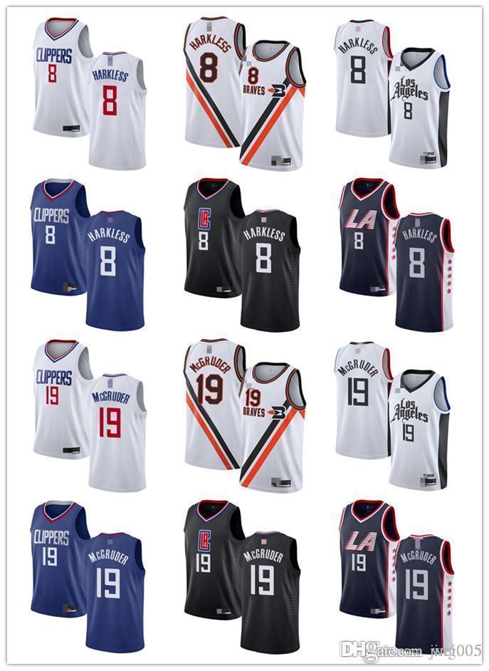 NCAA MensWomensYouthLosAngelesClippers8 Moe Harkless 19 Rodney McGruder Black white s blue custom BasketballJerseys