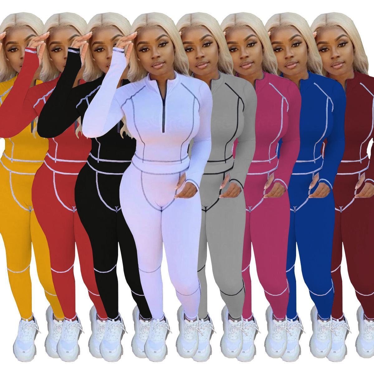 Mujeres Faint Fashion 2020 trajes de manga larga 2 piezas Conjunto de chándales Jogging Sportsuit Camisa Leggings Trajes Sudadera Pantalones Sport Traje
