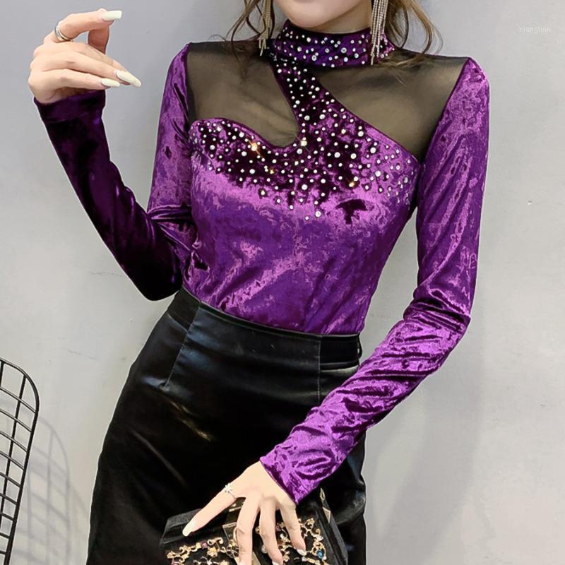 2020 herbst winter neu design koreanische diamant long sleeve shirt frauen samt frauen blusen mode mesh bluse shirt tops1
