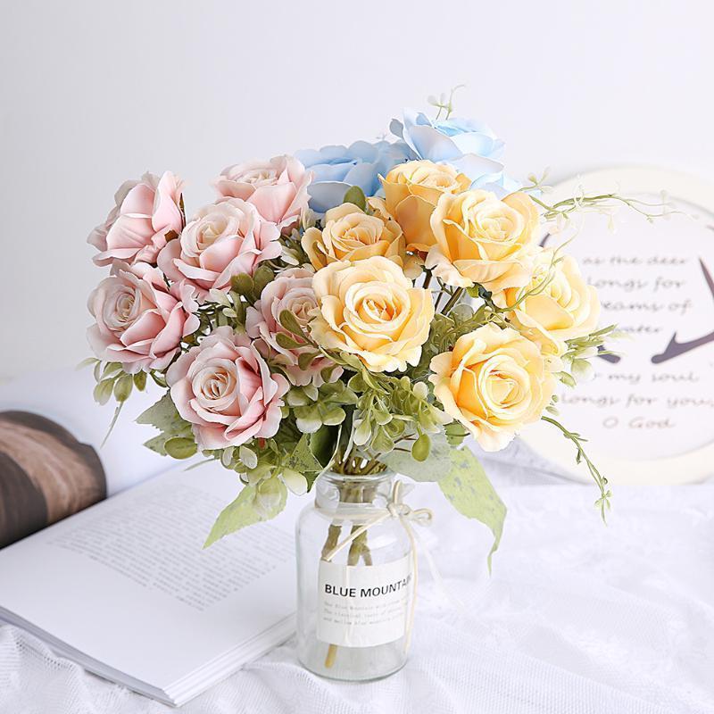 1 Bündel 30 cm Rose Rosa Seide Pfingstrose Künstliche Blumen Blumenstrauß 7-großer Kopf Gefälschte Blume für Haushochzeit Weihnachten Dekorationen1