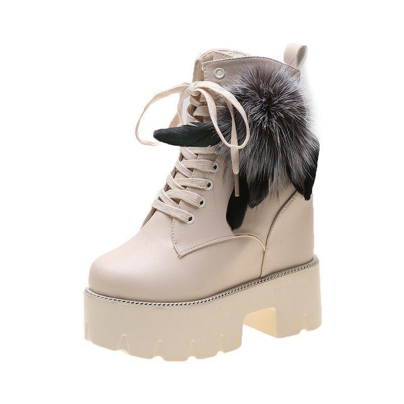 2020 Frauen-Knöchel der neuen Damen-Winter-warme Pelz-Motorrad-Aufladungen 12cm High Heels Leder-Schuhe Frauen-Plattform-Turnschuhe