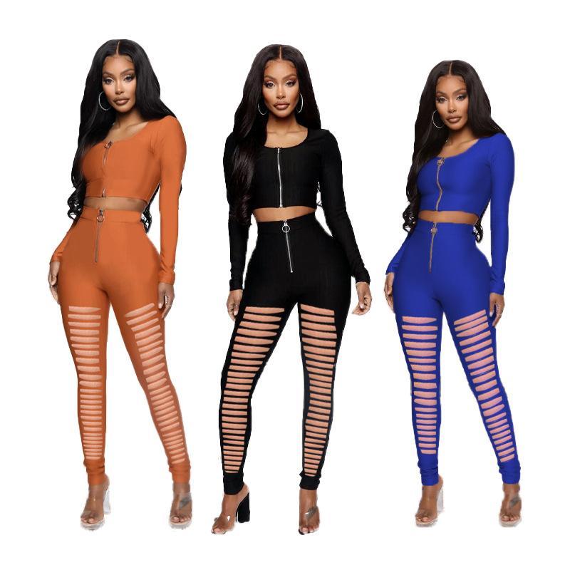Designer Buraco Zipper Womens Outsuits Primavera Outono cor sólida Magro Mulheres manga comprida Dois conjuntos de peças