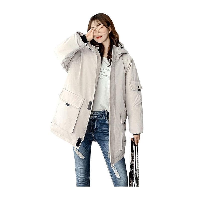 Chic Женщины среднедлинная Зимняя куртка с капюшоном Широкий Сыпучие ветрозащитный БИО вниз пальто Негабаритные хлопка проложенный Parkas