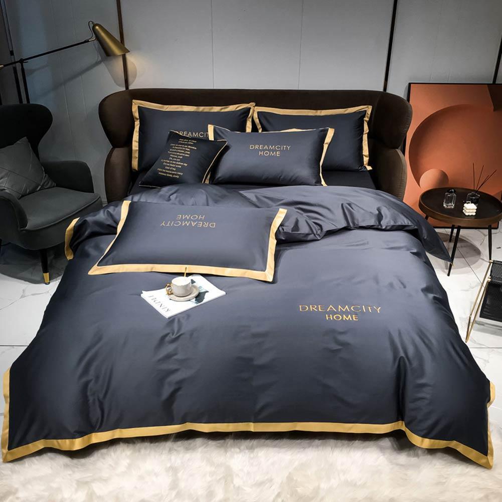 Nórdico Dark Cinza Sólido Algodão Bordado Hotel Moderna Plana ou Fitted Folha Rainha King Europe Conjunto de cama de edredão