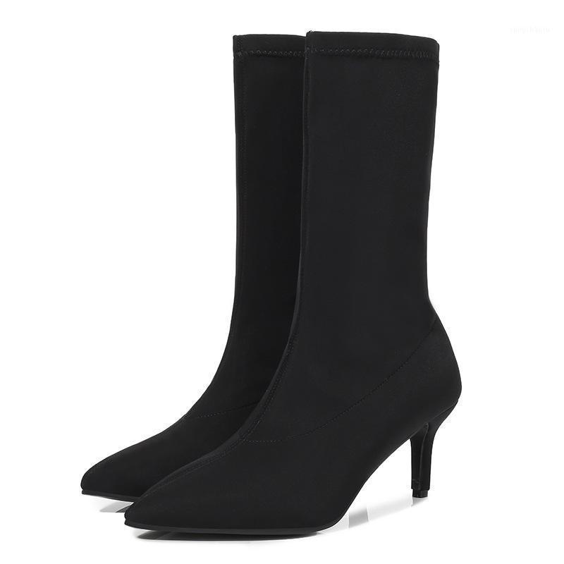 Женские сапоги на высоком каблуке Женщины сексуальные высокие каблуки носки сапоги скольжения на острове ног