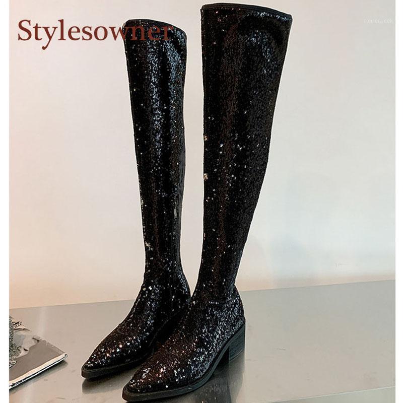 Bottes personnalisées automne paillettes hiver pointillés orteil mode épaisseur-talon sexy sur le genou haut brillant chaussures noires femmes1