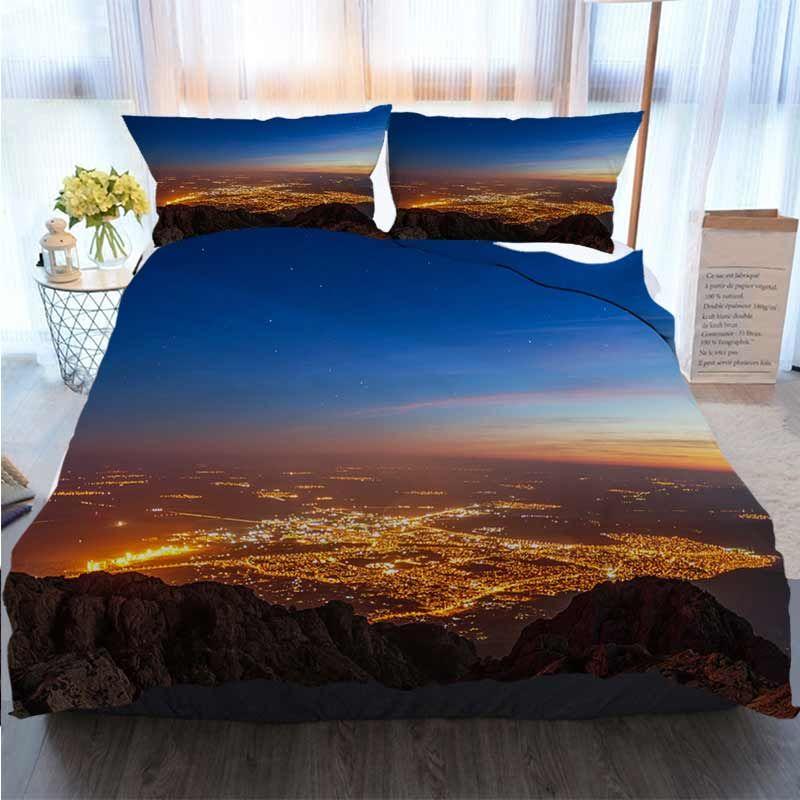 3pcs cama de algodão Set Super King Duvet Cover Set sol bonito sobre a cidade Scenic edredon cobrir Edredons Designer Cama Sets