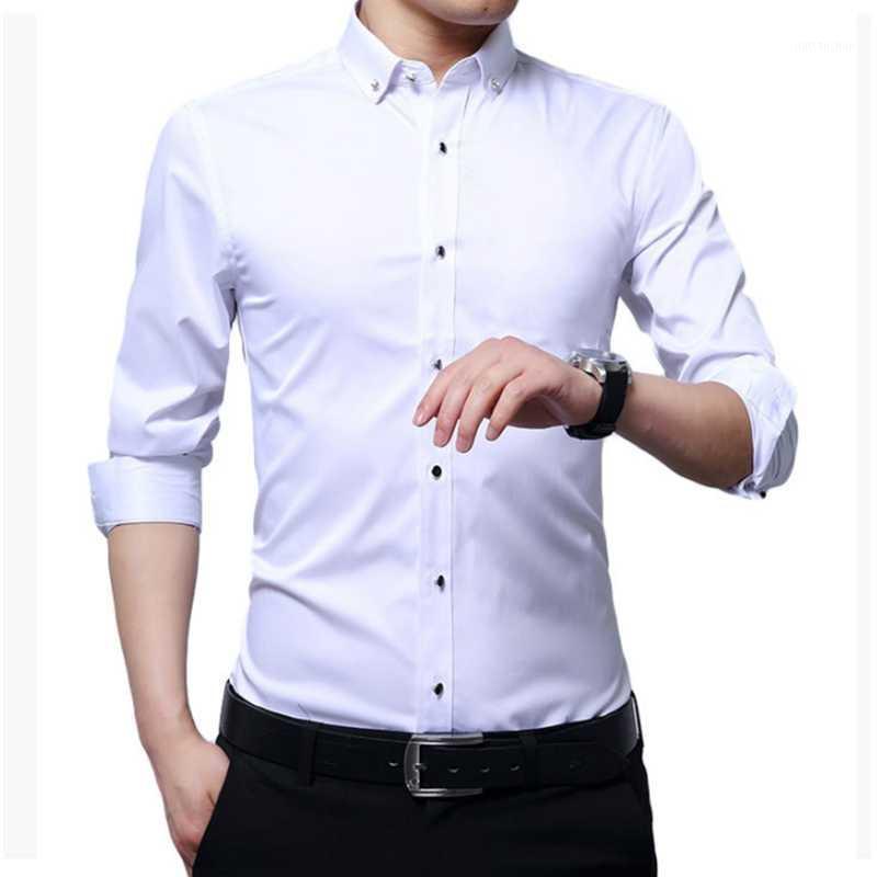 1247 otoño nuevo color sólido camisa de manga larga para hombres absorbente de humedad y transpirable para hombres negocio Basic1