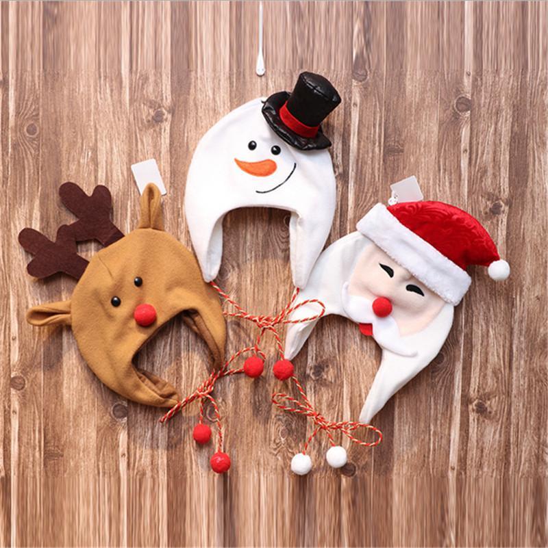 Kids X-mas chapeaux chapeaux de Noël décorations enfants en molleton long corde dessin animé santa claus bonhomme de neige elk costume bonnet chapeaux ski chapeaux e101401