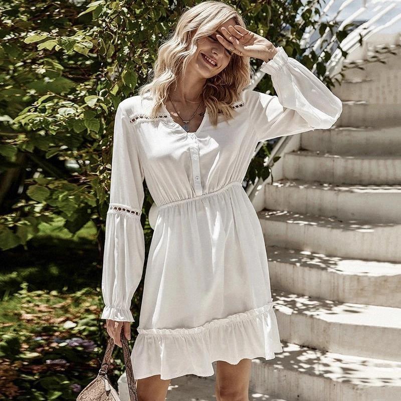 Slim vestidos brancos para senhora 2021 pétala manga comprida mulher vestido oco out outono outono feminino cintura midi vestido vestido # 9n9x