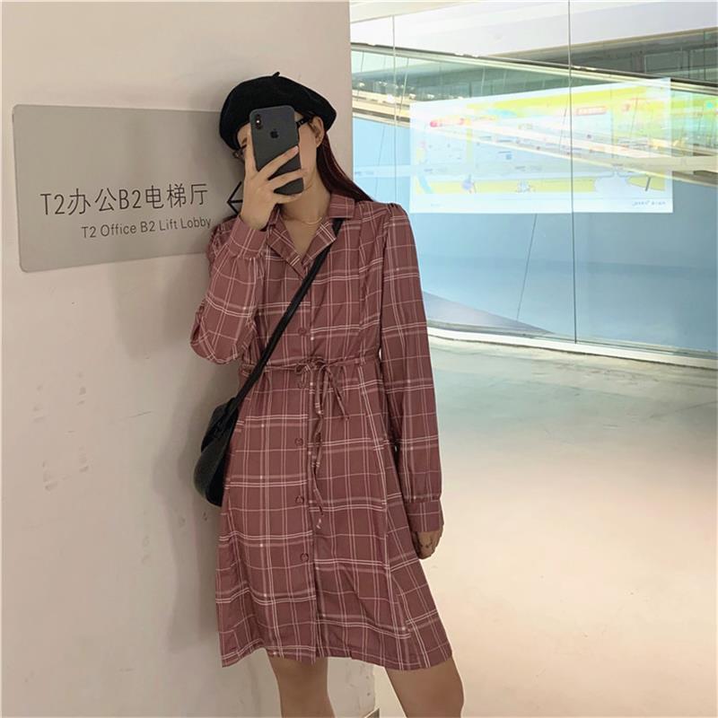 Harajuku Ulzzang Abiti casual giapponese Vintage Chic plaid allentato vestito le donne Femminile Coreano Kawaii sveglio di abbigliamento per le donne C1012