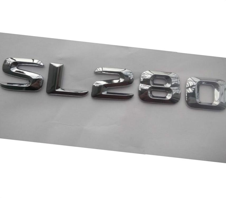 Chrome brillant Silver Silver ABS Trunque de voiture Numéro d'arrière Mots Mots Badge Emblem Sticker Decal pour Mercedes-Benz SL Classe SL280 E320