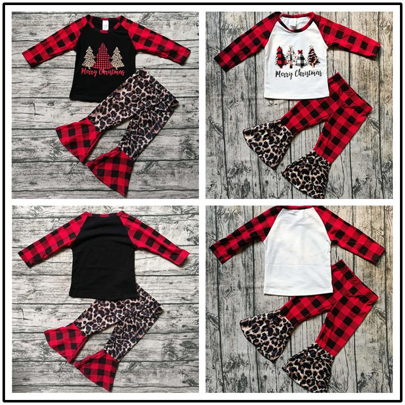 Christmas Girls Outfits Leopard Plaid Patchwork Toddler Long Sleeve Tops + Flared Pants Two Pieces Sets Children Xmas Clothes Set Best
