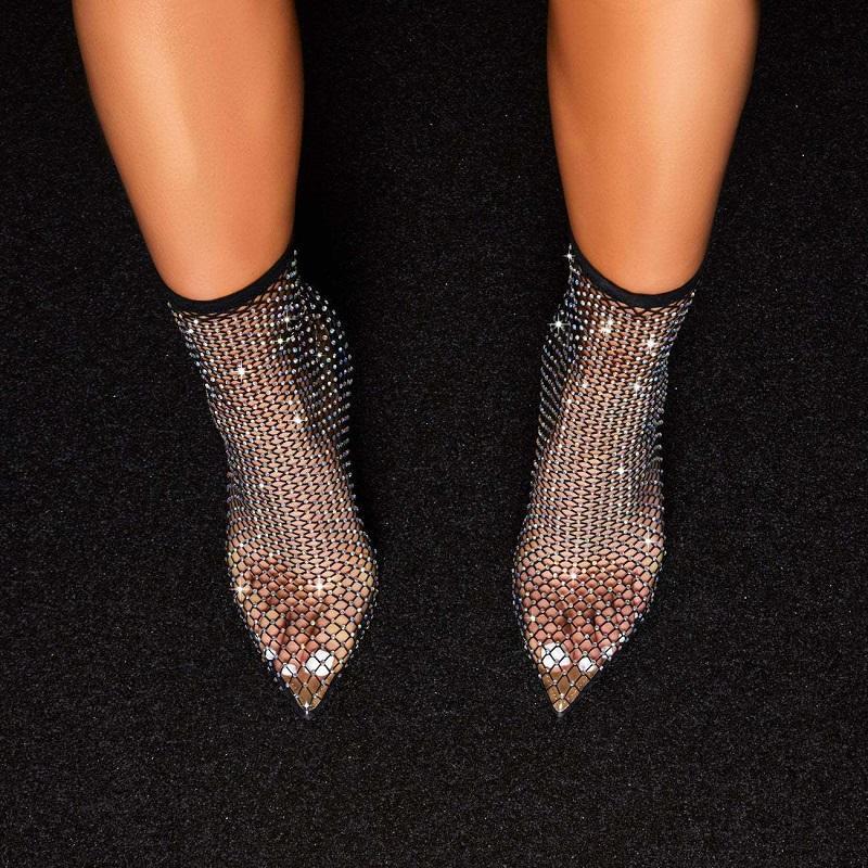 Botas verão mulheres sandálias transparente strass malha oco senhoras sapatos preto apontado toe salto alto stiletto meados de bezerro