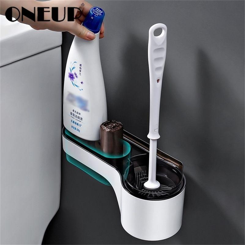 Suporte de escova de banheiro Oneup Wall-Mounted Long Maçaneta Escova de Limpeza para Banheira Banheira Estúgio de Armazenamento Acessórios para banheiro limpo 201214