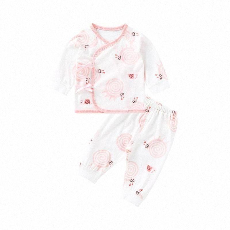 Puronatos recém-nascido Unissex Roupas de bebê Set 2 Pcs bebê tops de manga longa e calças de verão respirável Algodão Pijamas cBKI #